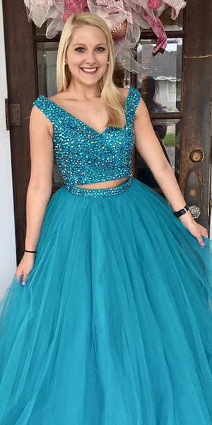 V-Neck Beaded 2 Pieces Long Plus Size Prom Dress Custom Made Tulle ...