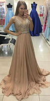 V-Neck Chiffon Beadings Prom Dress with Beaded Spaghetti Straps Custom Made Fashion Long A-Line Formal Evening Gowns PD357