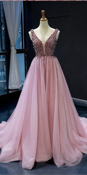 Sparkly Beaded Long V-Neck Prom Dress Custom Made Long Tulle Beadings Evening Gowns Fashion Long School Dance Dress Women's Pagent Dresses PD948