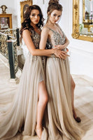 V-Neck Long Beaded Prom Dress with Side Slit Custom Made Long Sequined Evening Gowns Fashion Long Tulle Beadings School Dance Dresses PD744