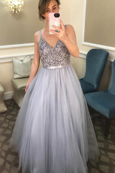 Sparkly V-Neck Beaded Tulle Prom Dress with Beadings Straps Custom Made Long A-Line Evening Gowns Fashion Beads Graduation Party Dresses PD443