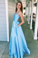 Fashion V-Neck Blue Satin Prom Dress with Pockets Custom Made Long A-Line Formal Evening Dress PD366