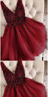 V-Neck Short Beaded Burgundy Homecoming Dress Custom Made Tulle Beadings Cute Cocktail Party Dress Fashion Short School Dance Dresses HD106