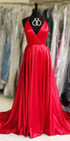 Halter V-Neck Simple Red Prom Dress 2019 Custom Made Long A-Line Evening Dress Fashion Long Formal Dress Women's Pageant Dress PD618