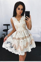 Cute V-Neck Lace Homecoming Dress Custom Made Fashion Short Graduation Party Dress Sweet 16th Dress HD059