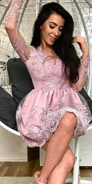 V-Neck Lace Appliques Short Homecoming Dress with Full Sleeves Custom Made Cute Cocktail Party Dress Fashion Short School Dance Dresses HD100