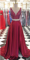 V-Neck Long Beaded 2 Pieces Prom Dress Custom Made Long Side Slit Graduation Party Dress Fashion Long Two Pieces School Dance Dress PD781