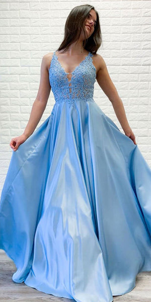 V-Neck Long Blue Appliques Prom Dress Custom Made Long Satin Evening Gowns Fashion Long School Dance Dress Women's Pagent Dresses PD949