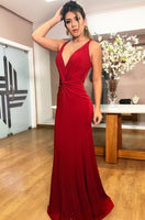 Sexy Mermaid Long Prom Dress Custom Made Long V-Neck Evening Gowns Fashion Long Open Back School Dance Dresses PD709