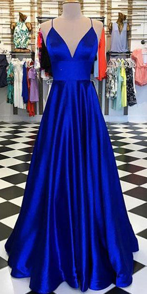 Spaghetti Straps Long Royal Blue Prom Dress Custom Made Long Simple Evening Dresses Fashion Long School Dance Dresses PD768