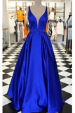 Royal Blue Long Prom Dress with Beaded Waist Custom Made Long Evening Gowns Fashion Long School Dance Dress Fashion Formal Dresses PD843