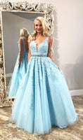 V-Neck Long Tulle Appliques Prom Dress with Beaded Waist Custom Made Long Blue Evening Dress Fashion Long School Dance Dress Sweet 16th Dress PD831
