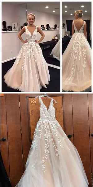 V-Neck Long Tulle Appliques Bridal Gowns with Beaded Waist Custom Made Fashion Long Wedding Dresses WD015