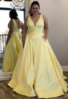 V-Neck Long Plus Size Prom Dress with Beaded Pockets Custom Made Long Evening Gowns Fashion Long School Dance Dress PD803
