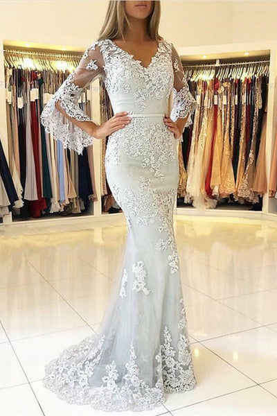 Mermaid V-Neck Lace Appliques Prom Dress with Three Quaters Sleeves Custom Made Fashion Long Evening Gowns Bridal Wedding Gowns PD378