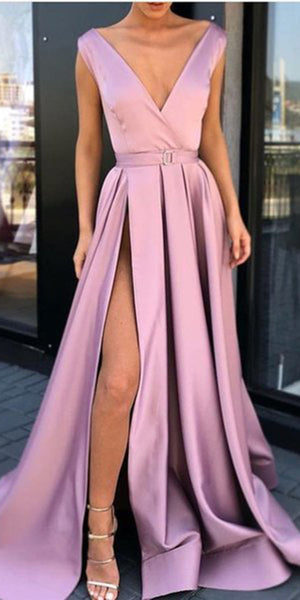 Simple V-Neck Side Slit Satin Prom Dress Long 2019 Custom Made A-Line Evening Gowns Fashion Long Pink Formal Dresses PD464