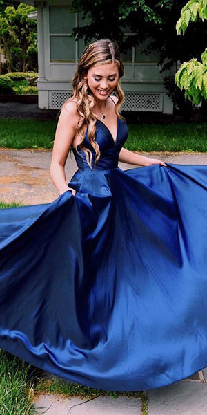 V-Neck Royal Blue Spaghetti Straps Prom Dress Custom Made Long A-Line Graduation Party Dress Fashion School Dance Dresses PD417
