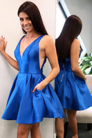 Simple V-Neck Short Royal Blue Homecoming Dress with Pockets Custom Made Cute Cocktail Dress Fashion Short School Dance Dresses Short Women's Fashion Dresses HD206