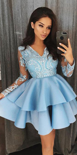 V-Neck Short Satin Appliques Homecoming Dress with Long Sleeves Custom Made Cute Cocktail Dress Fashion Short School Dance Dresses Sweet 16th Dresses HD214