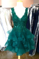 V-Neck Short Tulle Appliques Homecoming Dress Custom Made Cute Cocktail Dress Fashion Short School Dance Dresses Short Women's Fashion Dresses HD200