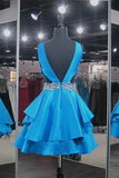 V-Neck Short Homecoming Dress with Beaded Waist Custom Made Cute Cocktail Dress Fashion Short School Dance Dresses Short Women's Fashion Dresses HD201