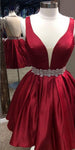 Burgundy Short Satin Homecoming Dress with Beaded Waist Custom Made Satin Beadings Cute Cocktail Party Dress Fashion Short Open Back School Dance Dresses HD104
