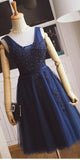 V-Neck Tulle Appliques Short Prom Dress Custom Made Short Navy Homecoming Dress Fashion Short School Dance Dress PDS059