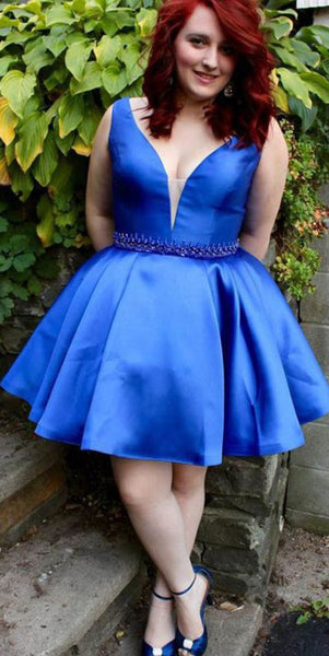 V-Neck Short Plus Size Royal Blue Homecoming Dress Custom Made Cute Cocktail Dress Fashion Short School Dance Dresses Short Women's Fashion Dresses HD203