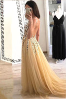 V-Neck Long Beaded Prom Dress Custom Made Long Tulle Beadings Evening Dress Fashion Long Sequined School Dance Dress Women's Formal Dresses PD867