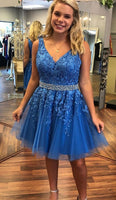 V-Neck Short Tulle Appliques Homecoming Dress with Beaded Waist Custom Made Cute Short Cocktail Dress Fashion Short School Dance Dresses Short Women's Fashion Dresses HD153