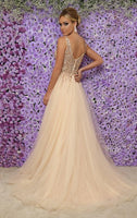 Sparkly Beaded Tulle Prom Dress 2019 Custom Made Tulle Beadings Evening Party Dress Fashion Long Side Slit School Dance Dress Pageant Dresses for Girls PD572
