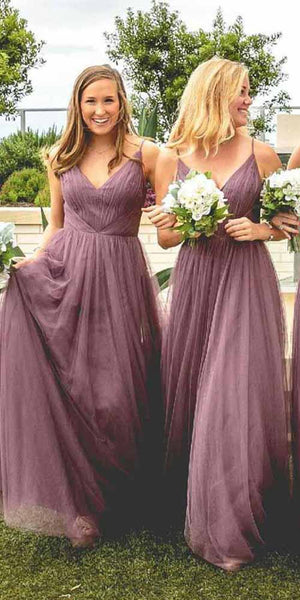 Custom Made V-Neck Tulle Bridesmaid Dress Fashion Long A-Line Wedding Party Dresses BD031