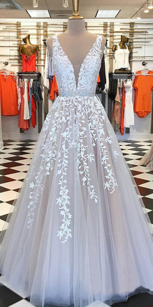 2020 Beaded Tulle Appliques Long Prom Dress Fashion Long Evening Gowns Custom Made Long School Dance Dress Women's Pagent Dresses PD981