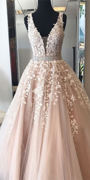 Beaded Tulle Appliques Prom Dress Long 2020 Fashion Long Evening Gowns Custom Made Long School Dance Dress Women's Pagent Dresses PD979