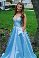 V-Neck Long Satin Prom Dresses Fashion Long Evening Gowns Custom Made Long School Dance Dress Women's Pagent Dresses PD0051