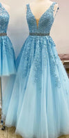 V-Neck Long Appliques Prom Dresses Fashion Long Graduation Party Dress Custom Made Long School Dance Dress Women's Pagent Dresses PD0024