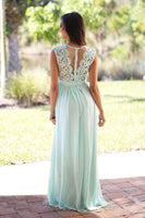 Custom Made Chiffon Lace See Throuhg Back Bridesmaid Dress Fashion Long A-Line Wedding Party Dresses BD036