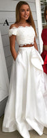 Satin Lace 2 Pieces White Prom Dress 2019 Custom Made Beaded Long Graduation Party Dress Fashion Two Pieces School Dance Dresses PD470 ColorA