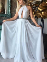 Custom Made Halter White Chiffon Prom Dress with Beaded Waist Fashion Long Evening Gowns PD268