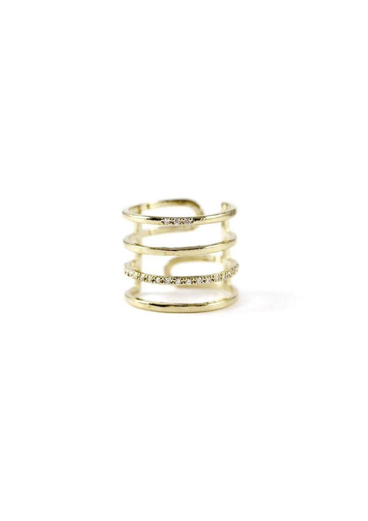Multi Layered Lines Gold Ring Online Jewelry Kollidea 2
