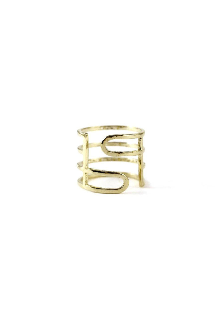 Multi Layered Lines Gold Ring Online Jewelry Kollidea 3