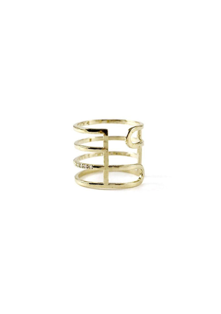 Multi Layered Lines Gold Ring Online Jewelry Kollidea 4