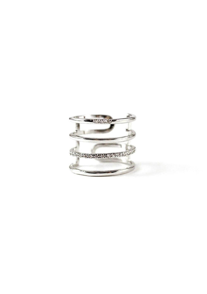 4 Lines Layered Cubic Ring Silver Online Jewelry Kollidea 2