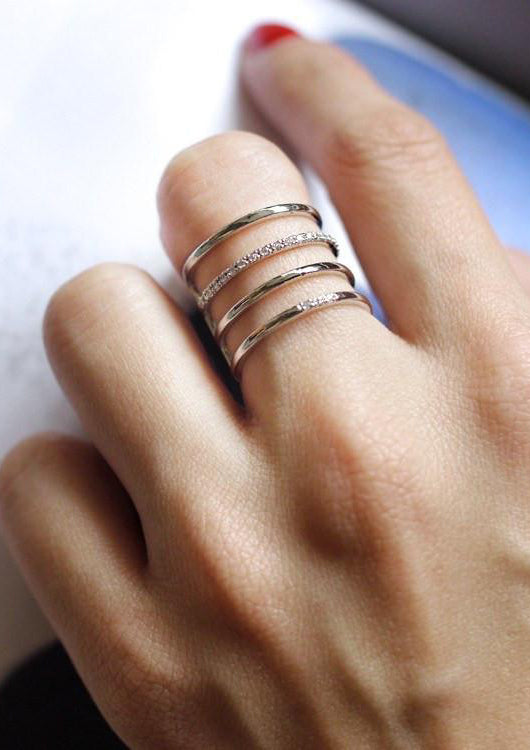 4 Lines Layered Cubic Ring Silver Online Jewelry Kollidea 1