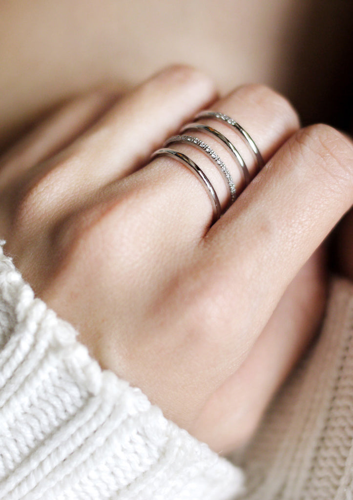 4 Lines Layered Cubic Ring Silver Online Jewelry Kollidea 4