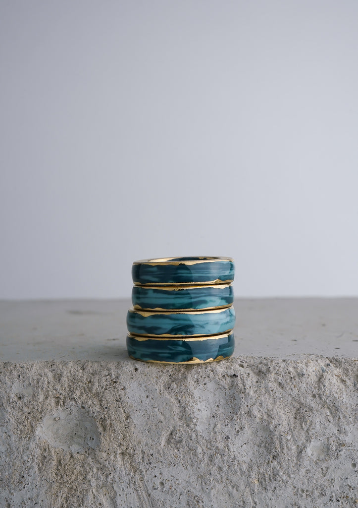 Cecolors Handmade Ceramic Porcelain Ring Blue Deep Teal 3