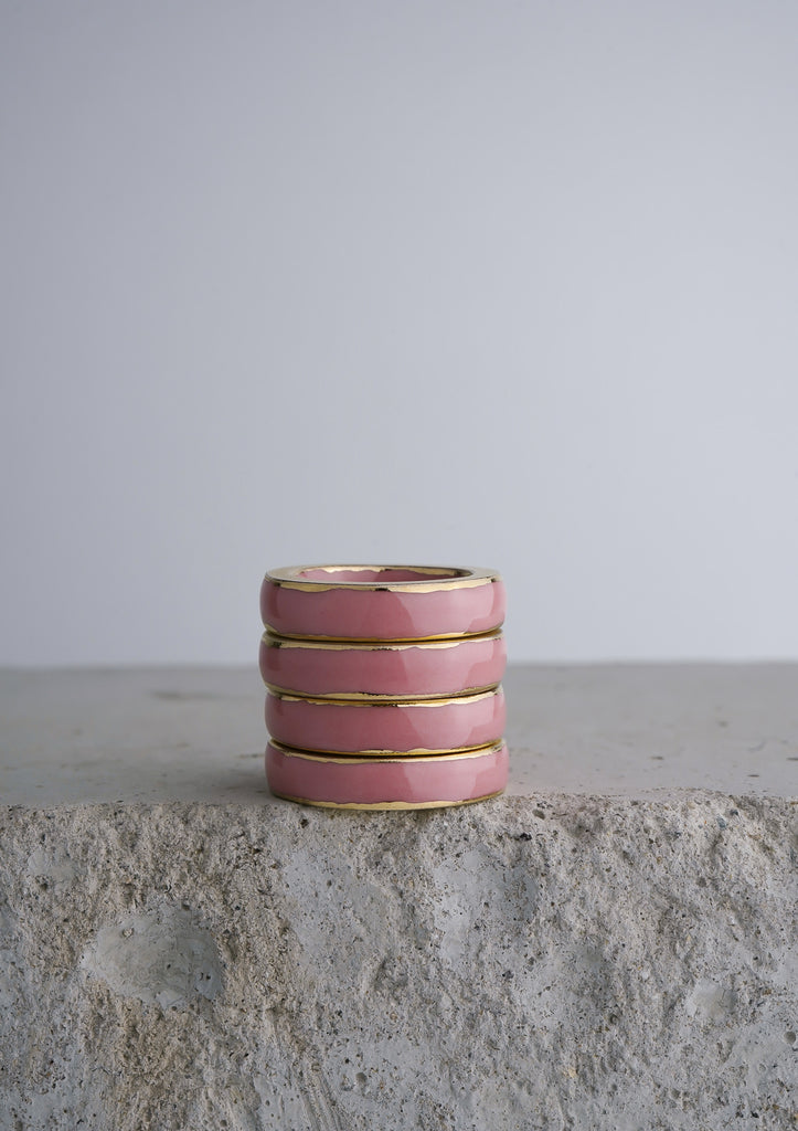 Cecolors Handmade Ceramic Porcelain Ring Pink Peach Blossom 5