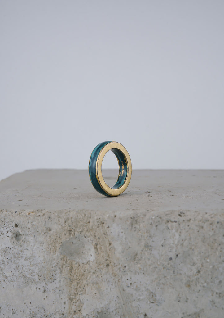 Cecolors Handmade Ceramic Porcelain Ring Blue Deep Teal 1