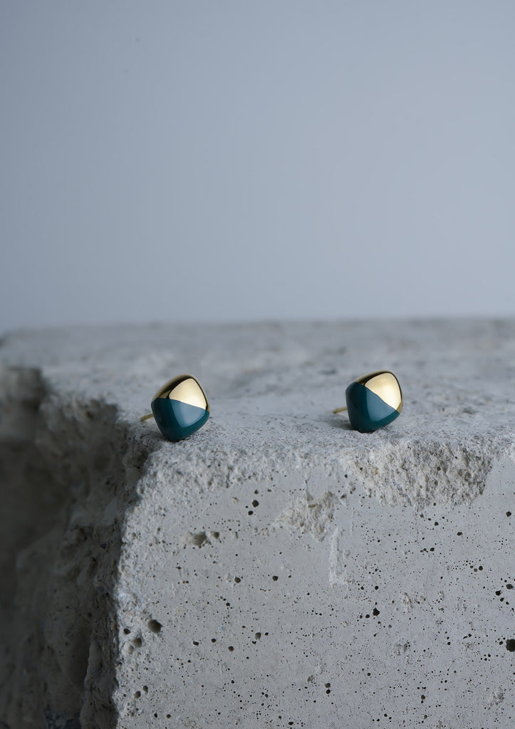 Handmade Earring Ceramic Jewelry Cecolors Diamond Deep Green Teal