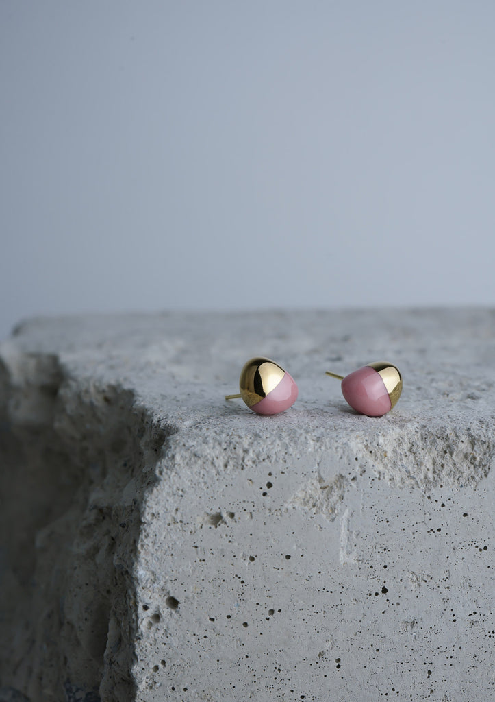 Handmade Earring Ceramic Jewelry Cecolors Semicircle Peach Blossom